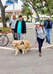 Das Team beim Einarbeitungs-Lehrgang; Überquerung einer Strasse mit Hund Braille